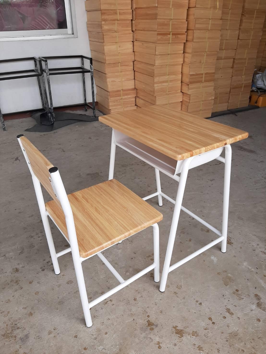 ชุดโต๊ะนักเรียน ไม้ยางพารา กล่องเหล็ก โต๊ะนักเรียนขากลม